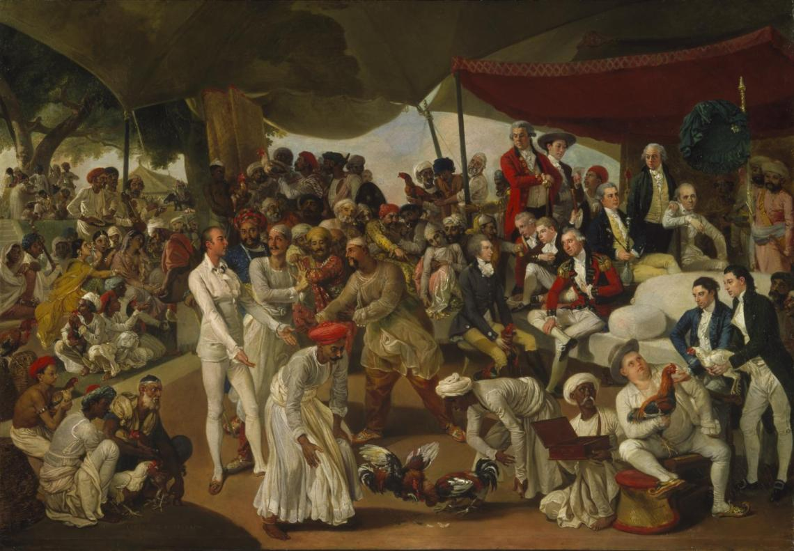 Colonel Mordaunt's Cock Match c.1784-6 by Johan Zoffany 1733-1810