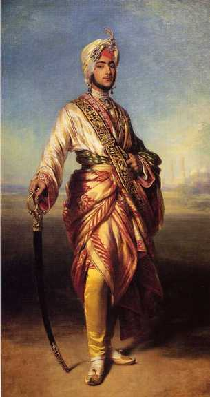 Winterhalter's 1854 painting of Maharaja Duleep Singh, the deposed ruler of Punjab. The painting was commissioned by Queen Victoria. (Source: Wikimedia Commons)